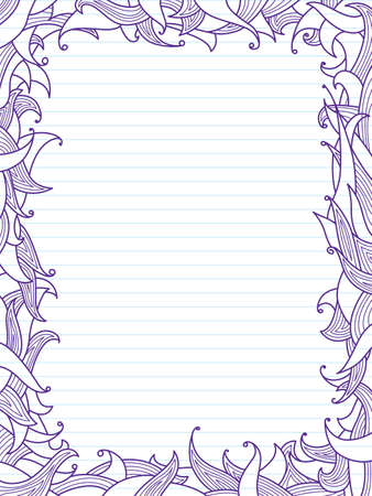 Doodles frame with leaves