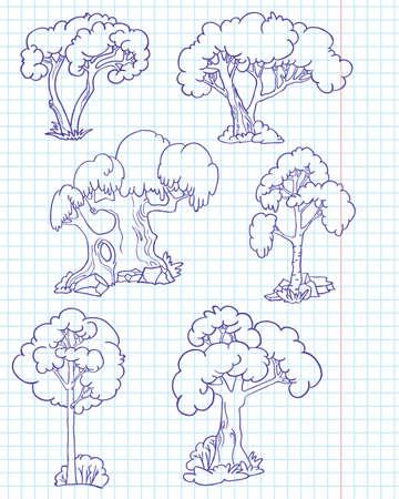 Doodle trees set #2 (willow, beech, hornbeam, birch, chestnut, walnut) Vector