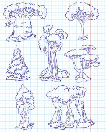 Doodle trees set #1 (baobab, sequoia, acacia, poplar, oak, fur-tree, maple) Stock Vector - 7258724