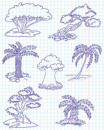 yew: Doodle trees set #3 (date palm, coconut palm, juniper, yew, elm, myrtle, box) Illustration