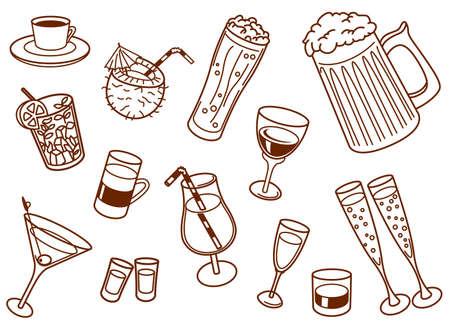 tequila: Drinks doodle set