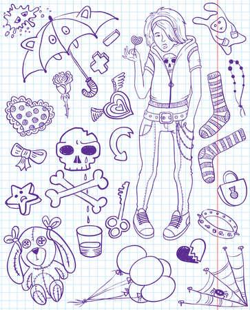 Set of emo doodles Vector