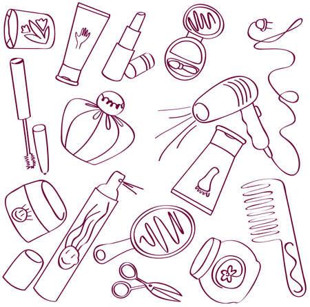 ladenkast: Collectie van vrouwelijke accessoires van schoonheid. Cosmetische pictogrammen Stock Illustratie