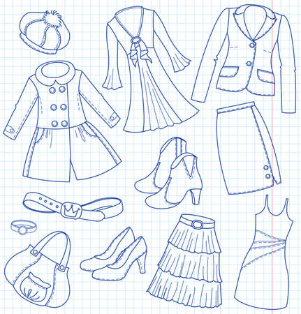 Ladys wear and accessories Vector