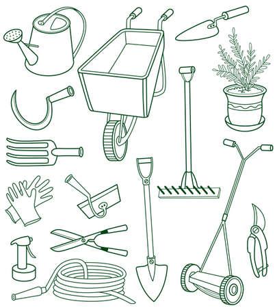 Doodle set of gardening tools Vector