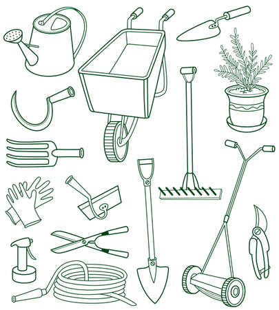 gardening equipment: Doodle set of gardening tools
