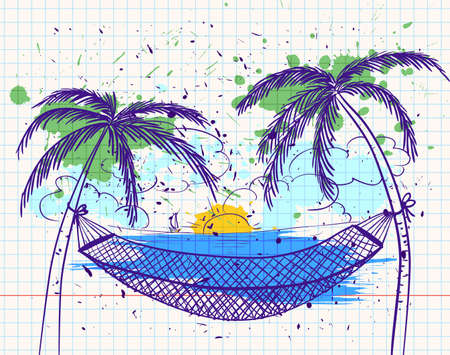 hammock: Doodle with hammock and palms