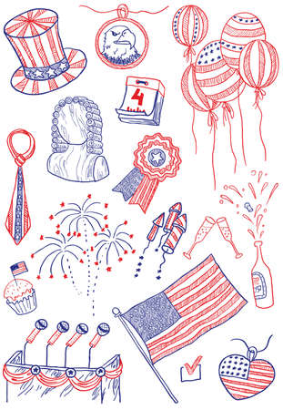 Independence day of America doodles Stock Vector - 7259458