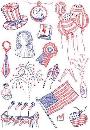 adler silhouette: Tag der Unabhängigkeit von Amerika doodles