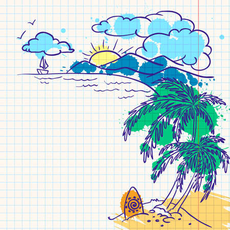 Ink-colored summer doodle landscape Stock Vector - 7259449