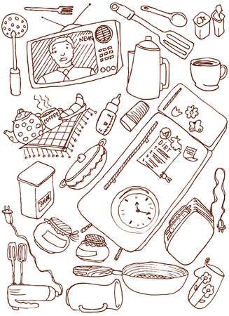 fork glasses: Cucina doodles insieme  Vettoriali