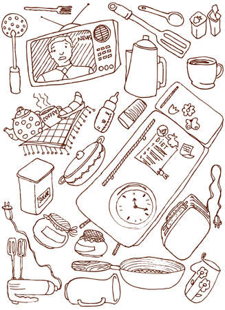 Kitchen doodles set Vector
