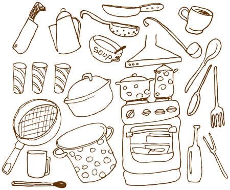 saucepan: Kitchen doodles set Illustration