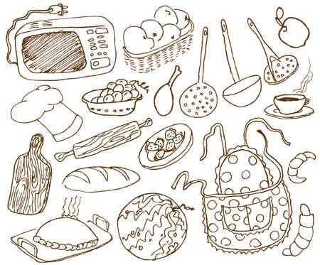 pastel de manzana: Cocina doodles conjunto