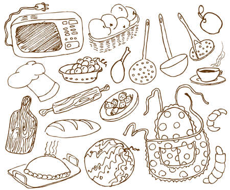 Kitchen doodles set Illustration