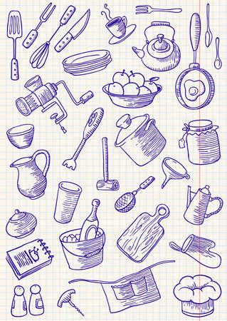 Keuken doodles set Vector Illustratie