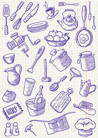 domestic kitchen: Kitchen doodles set Illustration