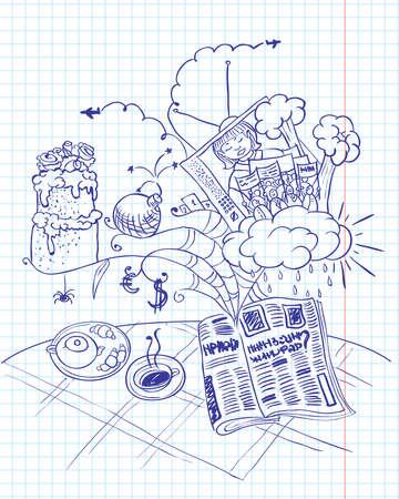 group of objects: Ochtend kranten doodles  Stock Illustratie