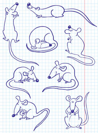 rats: Doodle insieme ratto (mouse)  Vettoriali