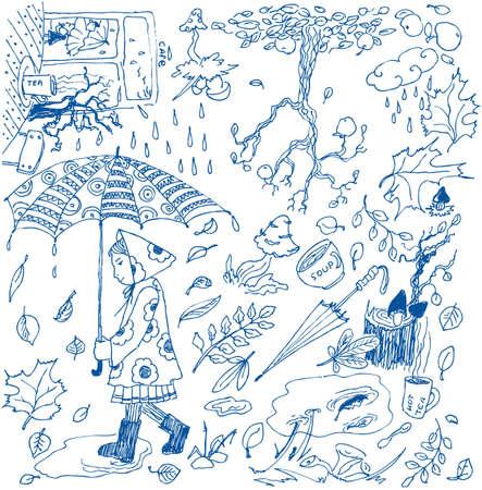 Autumn doodles. Vector illustration Vector