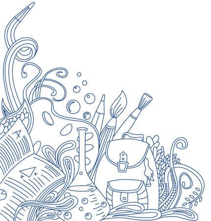 zaino: Doodle scuola di contorno. Illustrazione vettoriale