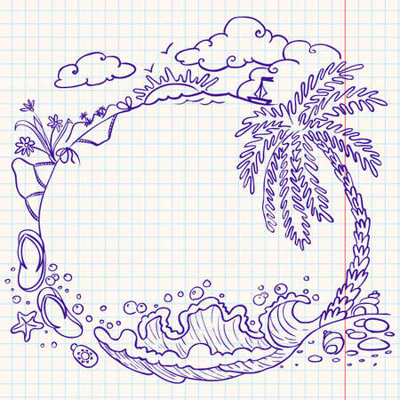 Rounded summer doodle frame Vector