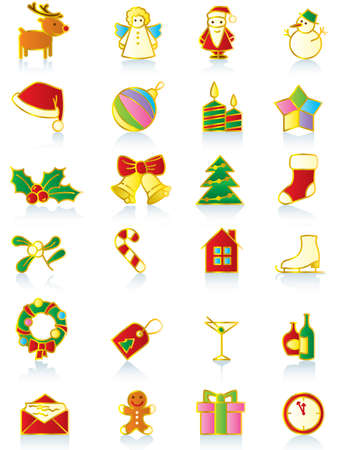 Set of gold Christmas icons. Vector