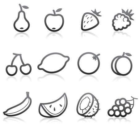 grape seed: Food Icons (Fruits) - part 1 Illustration