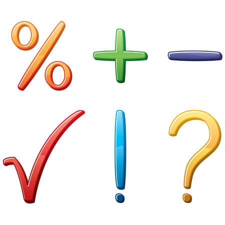 Mathematical 3D symbols set Vector