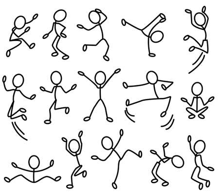 black outline: The stylised contours of people in movement. Part 2 Illustration