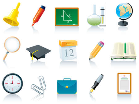 calendario escolar: Conjunto de iconos de educaci�n (escuela)