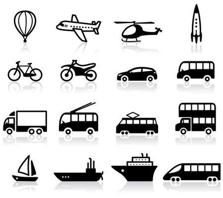 Ensemble de 16 icônes de transport  Vecteurs