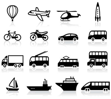 Set of 16 transport icons Vector