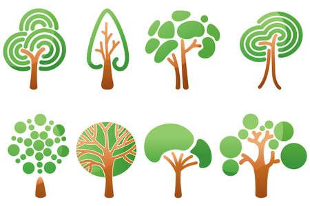 tree of life silhouette: Trees icons set