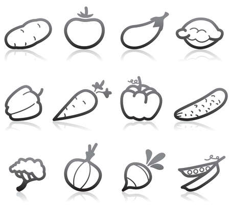 berenjena: Iconos de comida (vegetal) - parte 2  Vectores