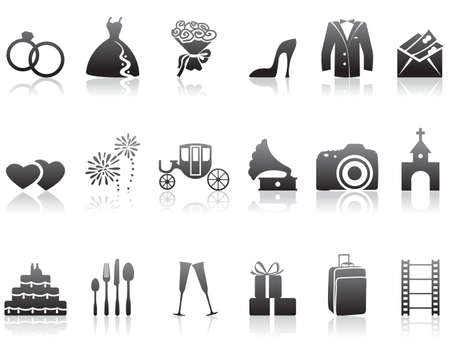 Set of minimalistic wedding icons Vector