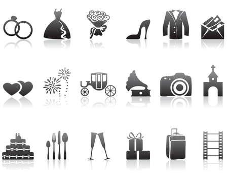 Set of minimalistic wedding icons Stock Vector - 7261858