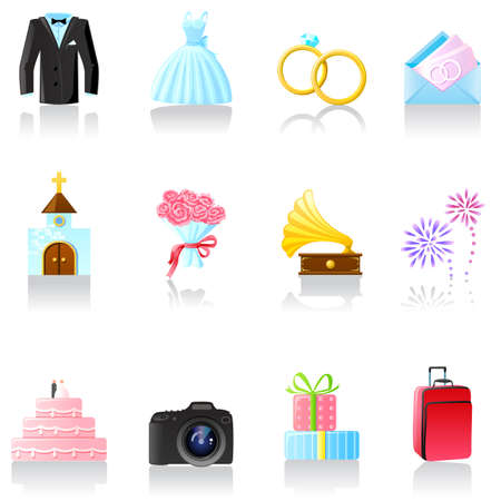 Set of  wedding icons. Part 1 Illustration