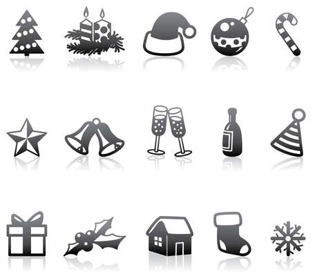 Minimalistic monochrome Christmas icons Vector