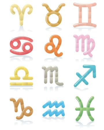 taurus sign: Set of shiny zodiac symbols Illustration