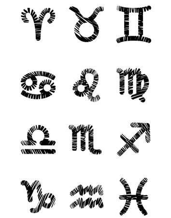 Set of black zodiac symbols Vector