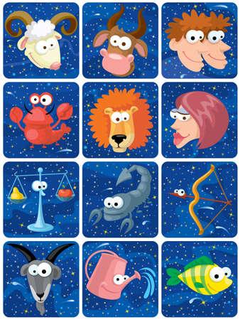 zodiac background: Cute zodiac characters on space background