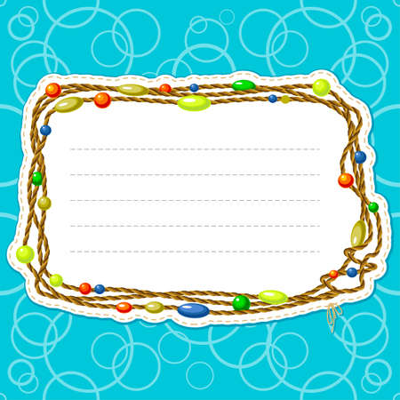 Frame with cord and beads Stock Vector - 7269502