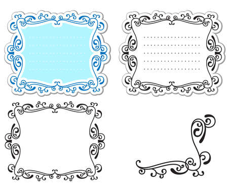 bookplate: Set of abstract curly labels