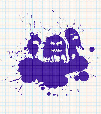Ink-drawn monsters. All objects are layered and grouped separately. Vector