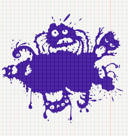 Ink-drawn monsters. All objects are layered and grouped separately. Stock Vector - 7269456