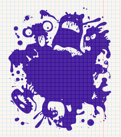 Ink-drawn monsters. All objects are layered and grouped separately. Stock Vector - 7269457