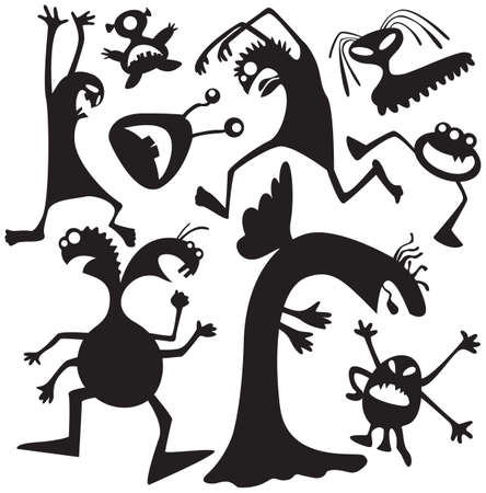 freak: Silhouettes of doodle monsters-bacteria Illustration