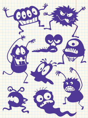 pattern monster: Silhouettes of doodle monsters-bacteria-aliens