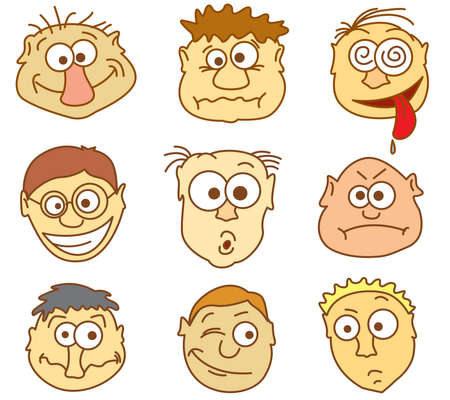 Faces icons. Part 1 - male avatars. Vector